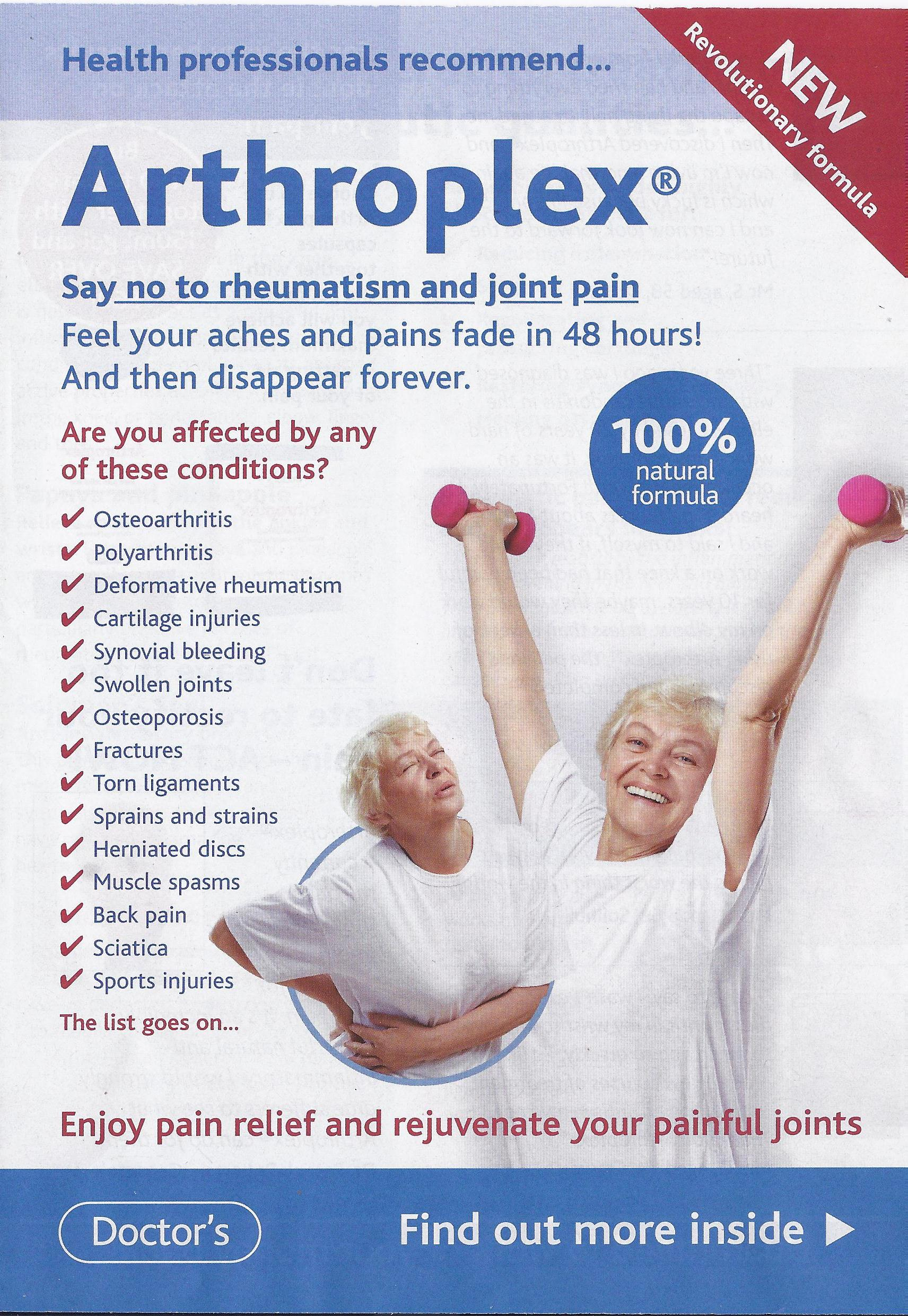 arthroplex leaflets featuring a veritable smrgsbord of misleading and unsubstantiated miracle health claims are still being slotted into various